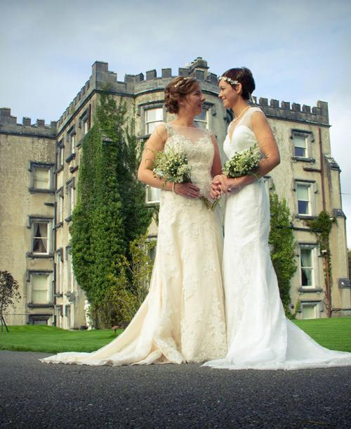 """""""A true marriage, not just a wedding"""" for long-term partners Ciara and Caroline."""